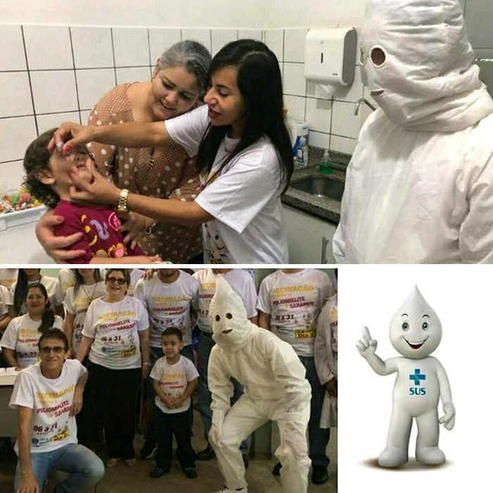 Life hack: You can re-use your old KKK costume if you want to work as a vaccination mascot in Brazil.
