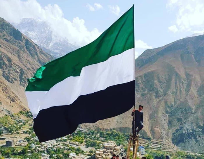 Flag of the Northern Alliance raised in Panjshir, Afghanistan today. Start of anti-Taliban alliance.