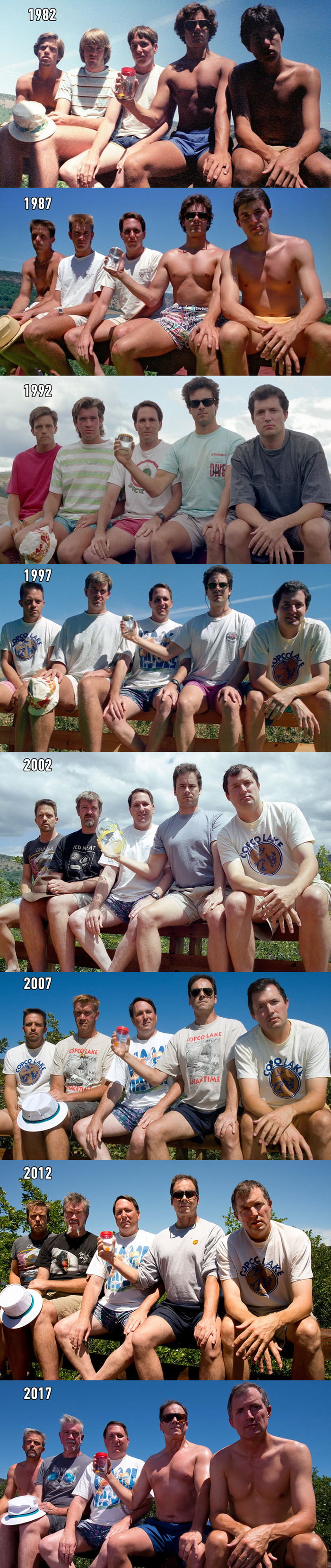Five high school buddies take the same photo for 35 years... friends for lifetime
