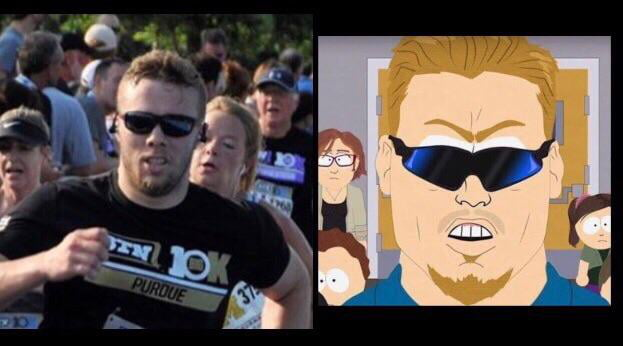 I ran a race this past weekend. The photo of me at the finish had an uncanny resemblance to PC Principal.