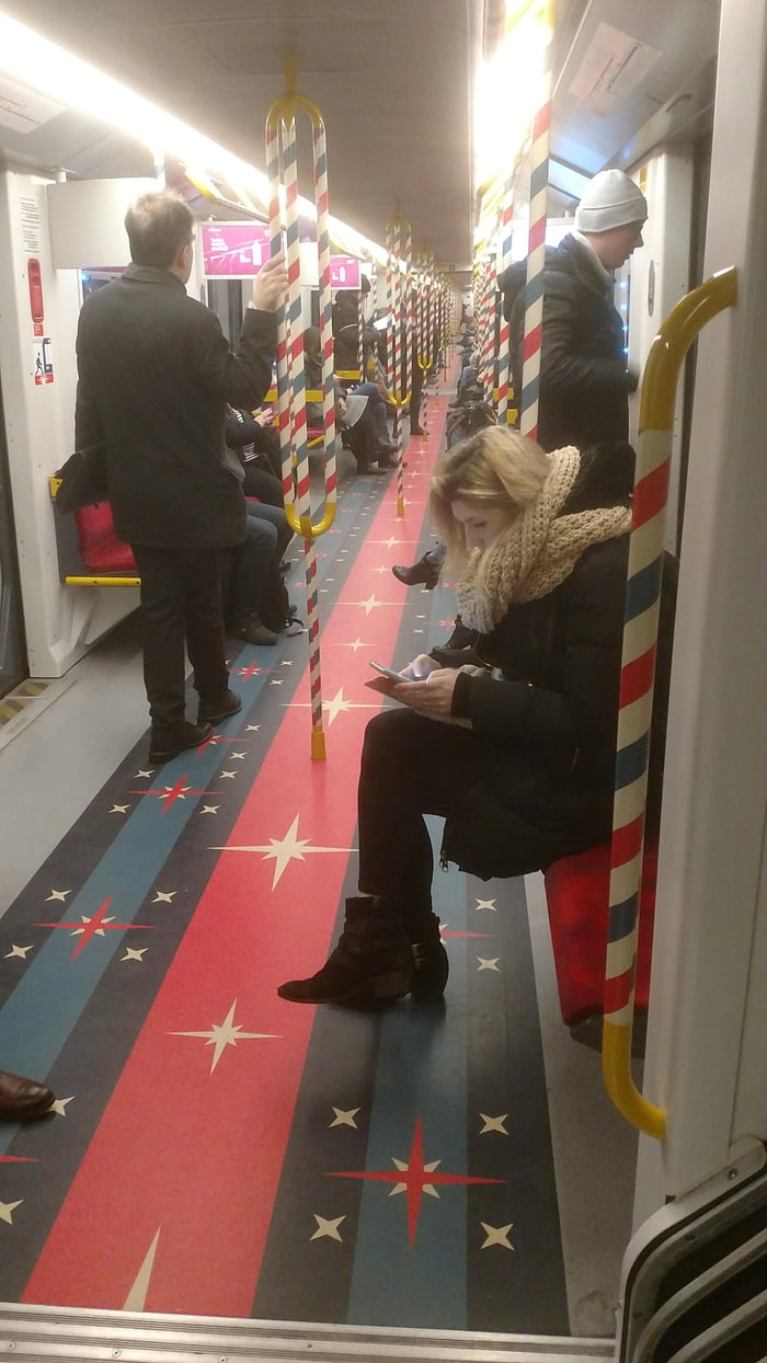 Subway on Warsaw, Poland during Christmas