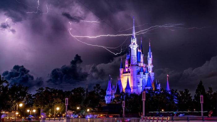This lightning bolt behind Cinderella's Castle at Disney World