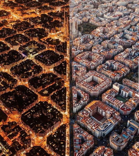 Barcelona divided by day and night