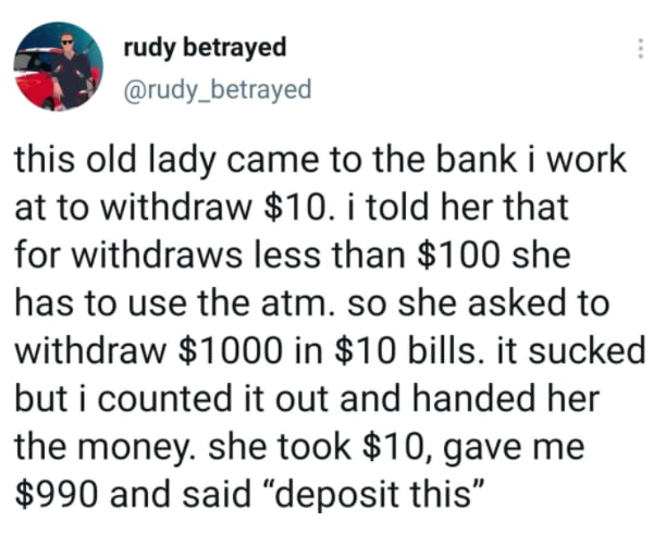 Old lady at the bank