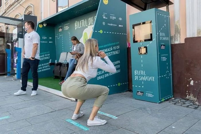 20 squats in Cluj, Romania gets you a free bus ticket.
