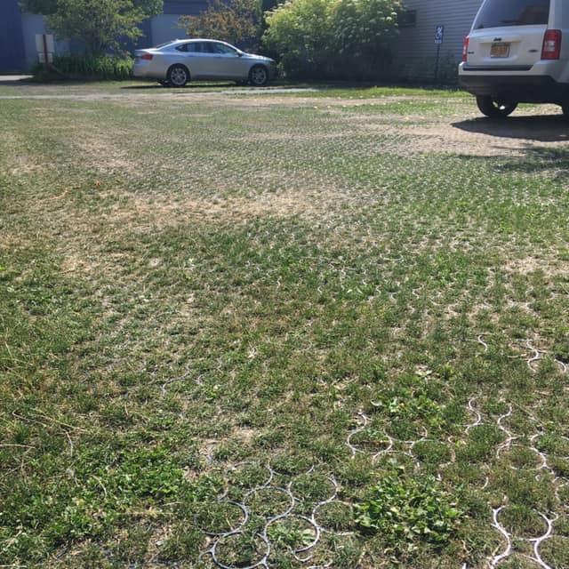 Grass parking lots absorbs more rainfall keeping water out of storm drains. It reduces heat. Provides habitat for insects. Helps offset carbon dioxide. Filters the water. It looks better and is cheaper than concrete while being stronger than asphalt.