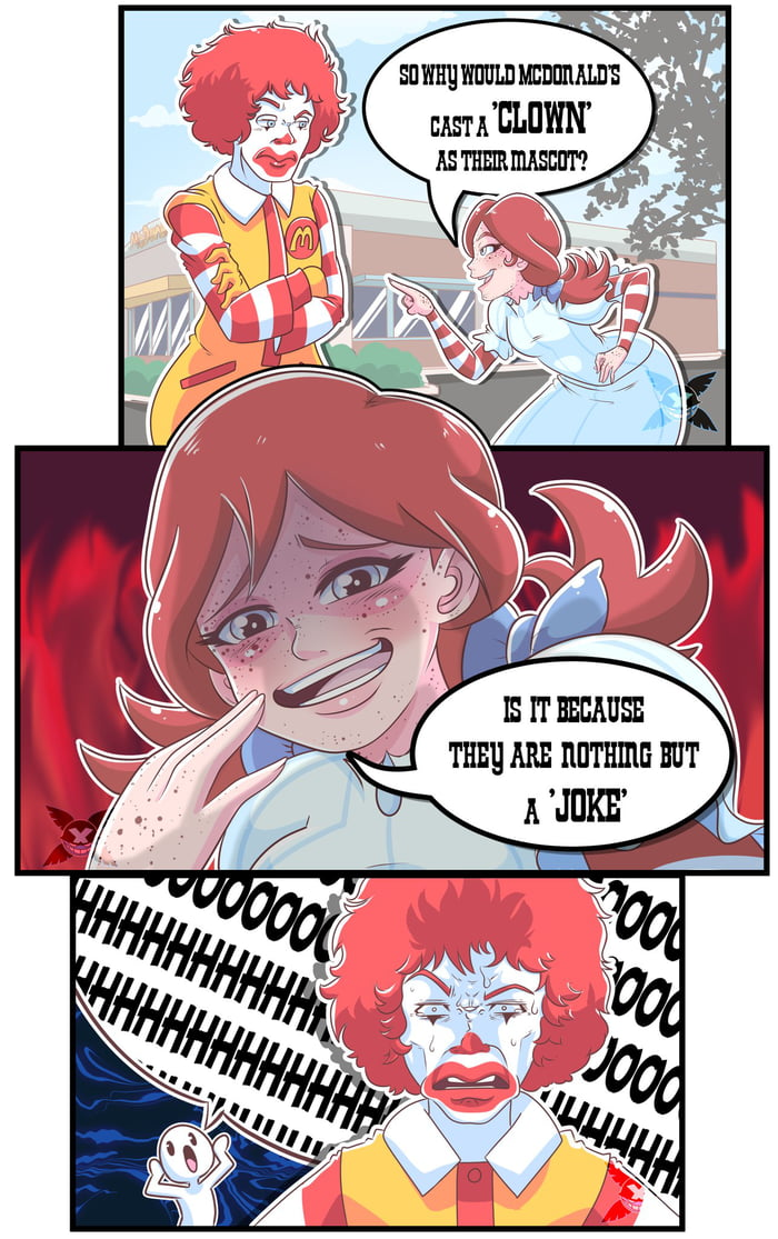 Ronald getting grilled like his burgers