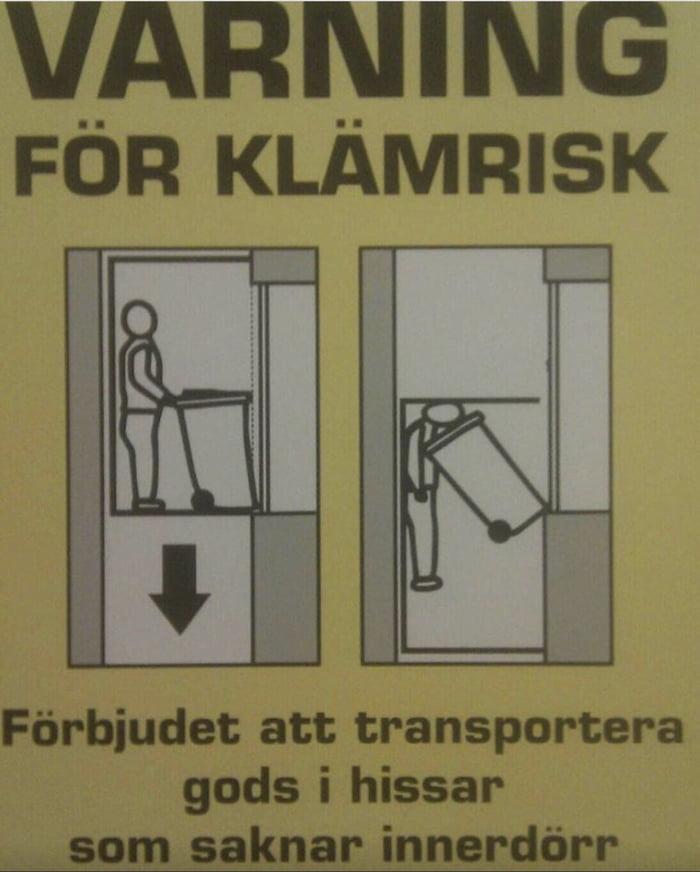 Elevator warning sign in Sweden