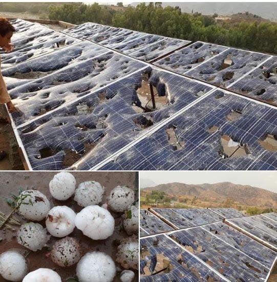 Solar panels after a hailstorm