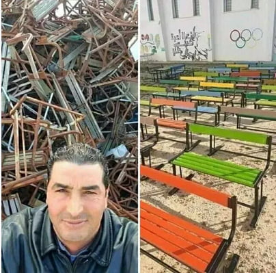 This school gatekeeper in Morocco fixed and painted every broken classroom furniture during quarantine