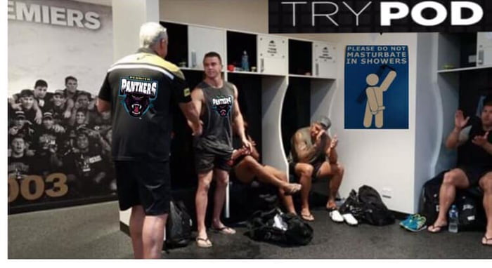 Penrith Panthers (Australian Rugby League team) dressing rooms. Check out the poster on the wall.