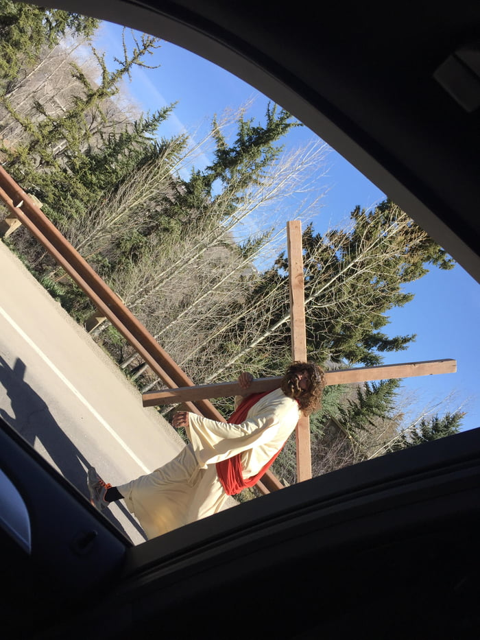 I saw Jesus walking down the road this morning! Happy Easter!