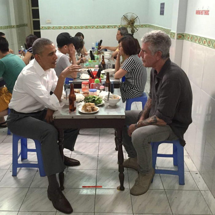 Imagine running into these two at a road-side restaurant in Vietnam