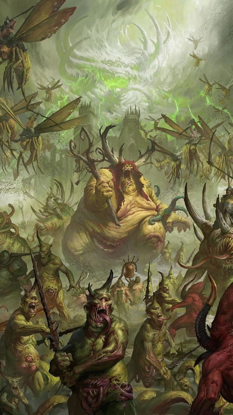 Time For Another Warhammer 40k Phone Wallpaper Today Are Some Daemons Of Nurgle 9gag