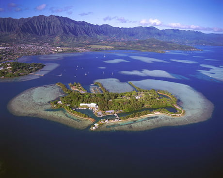 The Hawaii Institute Of Marine Biology is located on a small island surrounded by a coral reef