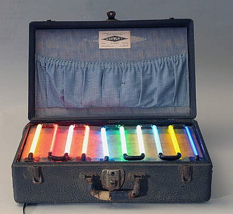 Awesome The sample case of a neon salesman circa 1930s